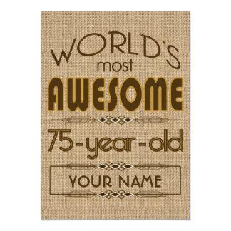 75.o Mundo de la celebración del cumpleaños mejor Invitación 12,7 X 17,8 Cm