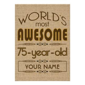 75 o Mundo de la celebración del cumpleaños mejor Invitacion Personalizada