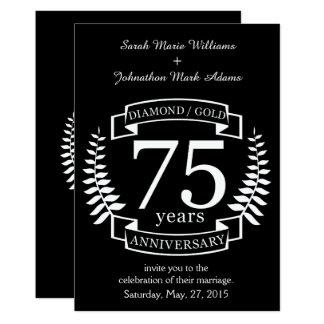 75.o ORO del DIAMANTE del ANIVERSARIO de boda Invitación 12,7 X 17,8 Cm