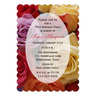 75 o Rosas de la invitación de la fiesta de cumple