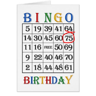 75.o Tarjeta del bingo del cumpleaños