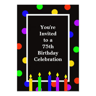 75.o Velas coloridas de la invitación de la fiesta