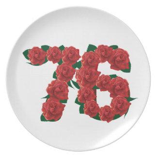 76.o número del aniversario del cumpleaños 76 plato de cena
