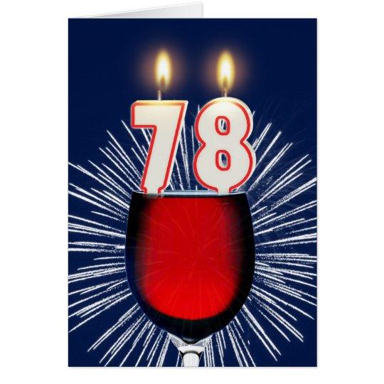78.o Cumpleaños con el vino y las velas Tarjeta De Felicitación
