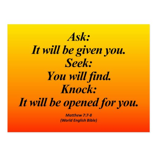 7:7 de Matthew del cumplimiento - 8 Abbrev Tarjetas Postales