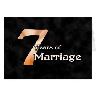 7 años de boda (aniversario de boda) tarjeta de felicitación
