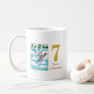 7 cisnes animales lindos y tipografía de una taza de café