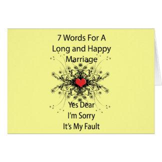 7 palabras para una boda larga tarjeta de felicitación