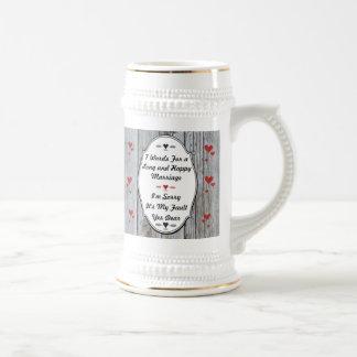 7 palabras para una boda larga y feliz jarra de cerveza