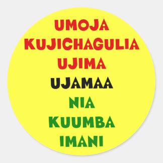 7 principios de Kwanzaa Pegatina Redonda