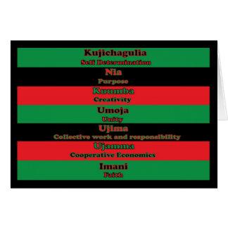 7 principios de tarjeta de Kwanzaa