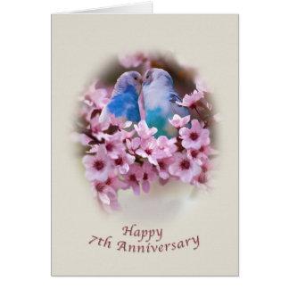 7ma tarjeta del aniversario de los Parakeets cariñ