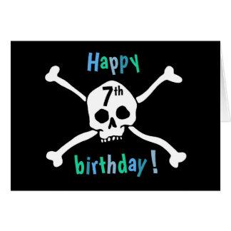 7ma tarjeta feliz del pirata del cumpleaños para