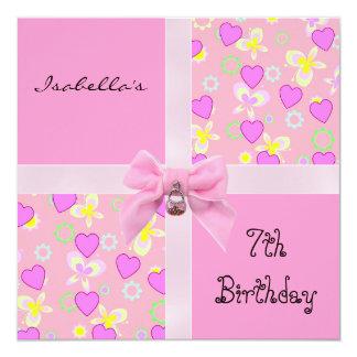 7mo arco adolescente de los corazones del rosa del invitación 13,3 cm x 13,3cm