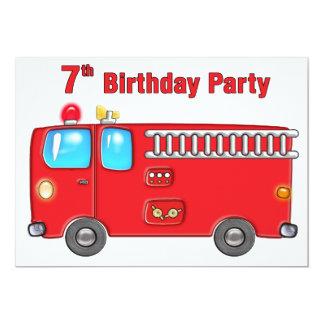 7mo cumpleaños del coche de bomberos fabuloso invitación 12,7 x 17,8 cm