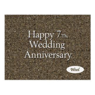 7mo feliz. Lanas del aniversario de boda Postal