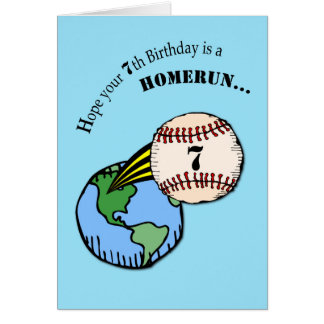 7mo Home run del béisbol del cumpleaños Tarjeta De Felicitación