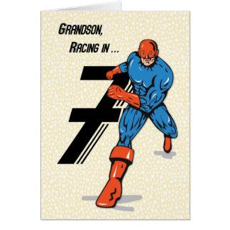 7mo super héroe del cumpleaños del nieto tarjeta de felicitación