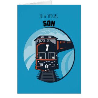 7mo tren del cumpleaños del hijo, Little Boy, azul Tarjeta De Felicitación