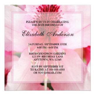 80 a fiesta de cumpleaños de las flores rosadas su invitacion personalizada