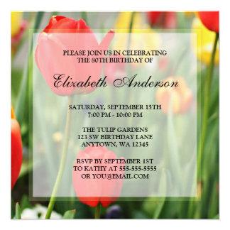 80 a fiesta de cumpleaños de los tulipanes colorid comunicado personalizado