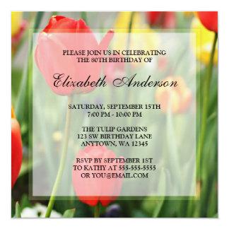 80.a fiesta de cumpleaños de los tulipanes invitación 13,3 cm x 13,3cm