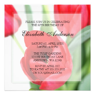 80 a fiesta de cumpleaños de los tulipanes rojos comunicado