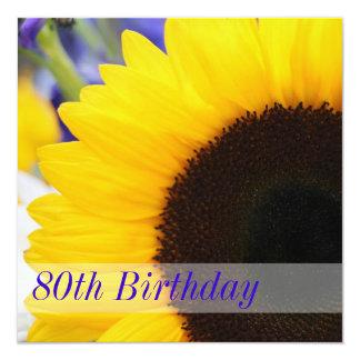80.a fiesta de cumpleaños del girasol invitación 13,3 cm x 13,3cm