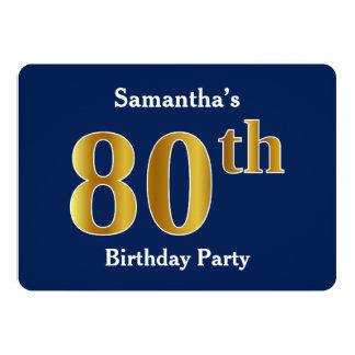 80.a fiesta de cumpleaños del oro azul, falso + invitación 12,7 x 17,8 cm
