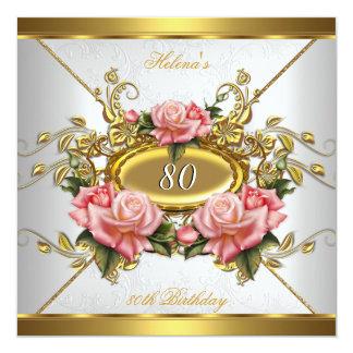 80.a fiesta de cumpleaños del oro del blanco invitación 13,3 cm x 13,3cm