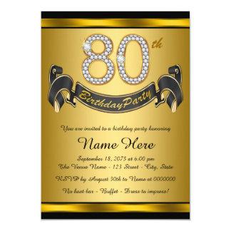 80.a fiesta de cumpleaños del oro elegante invitación 12,7 x 17,8 cm