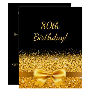 80.a fiesta de cumpleaños en negro con la chispa invitación 10,8 x 13,9 cm