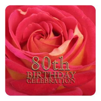 80.a invitación color de rosa del personalizado de