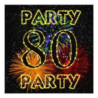 80.a invitación de la fiesta de cumpleaños con los