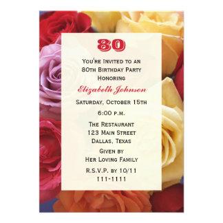 80 a invitación de la fiesta de cumpleaños de los