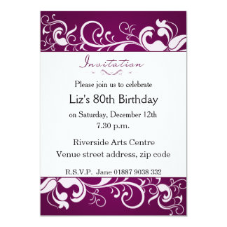80.a invitación del cumpleaños de la púrpura invitación 12,7 x 17,8 cm