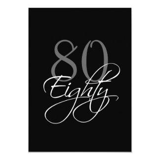 80.a invitación del cumpleaños del gris negro