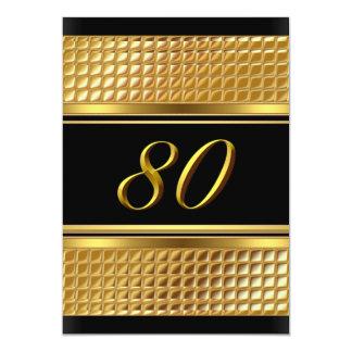 80.a invitación del oro y de la fiesta de invitación 12,7 x 17,8 cm