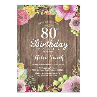 80.a invitación floral rústica del cumpleaños para