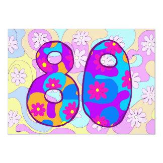 80.a invitación retra de la fiesta de cumpleaños