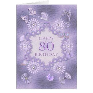 80.a tarjeta de cumpleaños con las flores de la