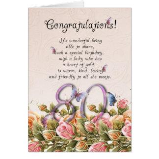 80.a tarjeta de cumpleaños con las mariposas y los