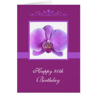 80.a tarjeta de cumpleaños de la orquídea