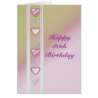 80 a tarjeta de cumpleaños feliz