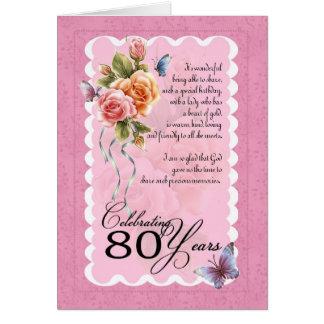 80 a tarjeta de felicitación del cumpleaños - rosa