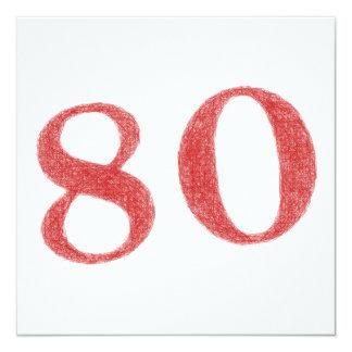 80 años de aniversario invitación 13,3 cm x 13,3cm