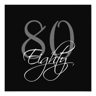 80.as invitaciones del cumpleaños del gris negro invitación 13,3 cm x 13,3cm