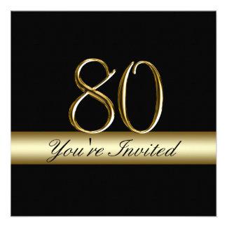 80 as invitaciones del cumpleaños del metal de la invitacion personalizada
