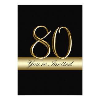 80 as invitaciones del cumpleaños del metal de la comunicado personalizado