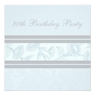 80.as invitaciones florales azules de la fiesta de invitación personalizada
